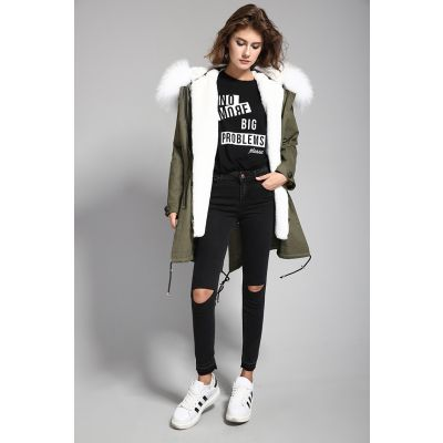 Women's winter jacket with thick fur hood