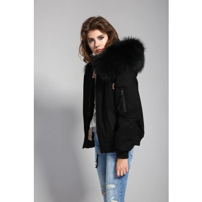 Women's winter jacket with removable fur interior and hood
