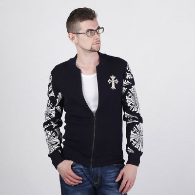 Zip up Jumper for Men with Woven Sleeve Pattern and Chest Badge