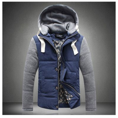 Quilted  winter jacket for winter hoodie with contrast sleeves