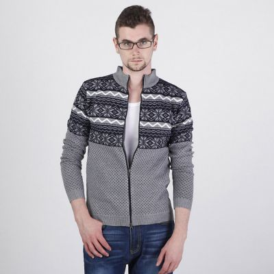 Zip up Men's Sweater with Retro Winter Print Snowflakes Stripes