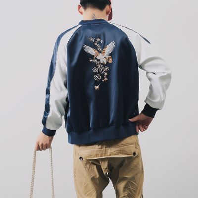 Navy blue satin sports jacket for men with eagles embroidery