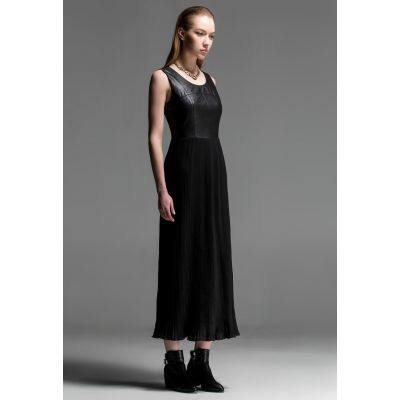 Vintage style Ankle Length Dress for Women Leather Top and Chiffon
