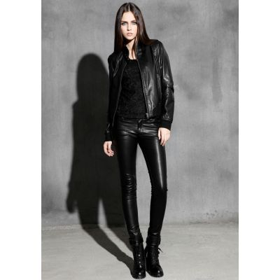 Genuine Leather Jacket for Women Classic Design Collar Buckle