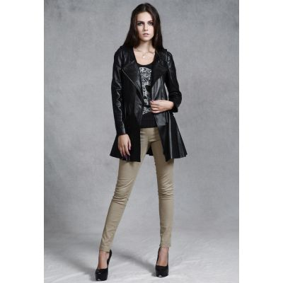 Real Leather Coat for Women Long Trench Large Lapel