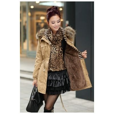 Women's Winter Coat with Fur Lined Hood and Knitted Wool Pockets
