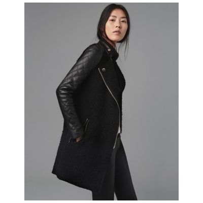 Bimaterial Leather Wool Jacket for Women with PU Leather Sleeves