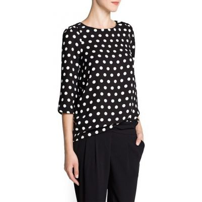 Loose blouse for women with big white polka dots mid long sleeves