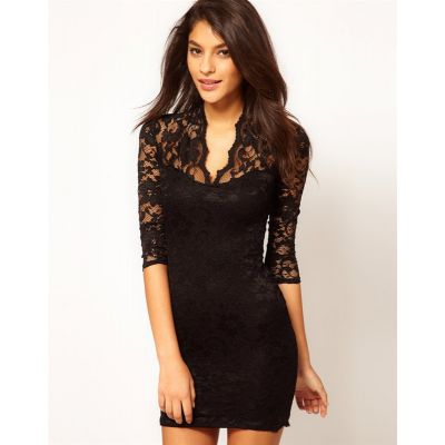 Fashion Lace Dress for Women with V neck collar and transparent shoulders