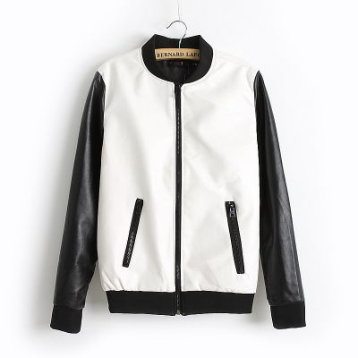 Baseball Style Leather Jacket for women with front pockets