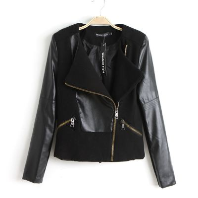 Bimaterial Fashion Leather Jacket for women with zip up pockets
