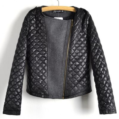Bimaterial Leather Wool Jacket for women with padded PU sleeves