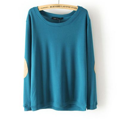 Simple pullover jumper for women with round collar and padded elbows