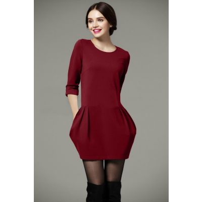 Close fit dress for women classic fashion - Red Green Black