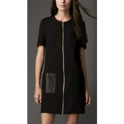 Faux leather Bimaterial classic dress with front pockets
