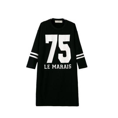 Women streetwear swag dress with baseball number 75 Marais