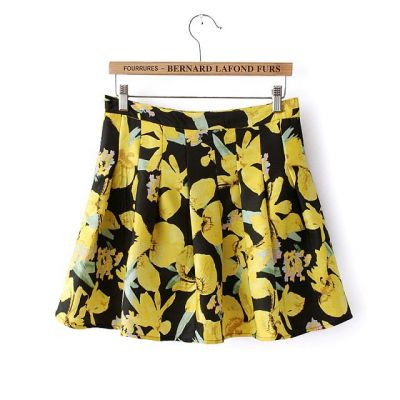 Women's Short skirt with flower print 2014 spring summer trend