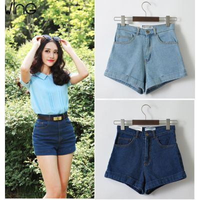 Denim shorts for women high waist retro jeans style
