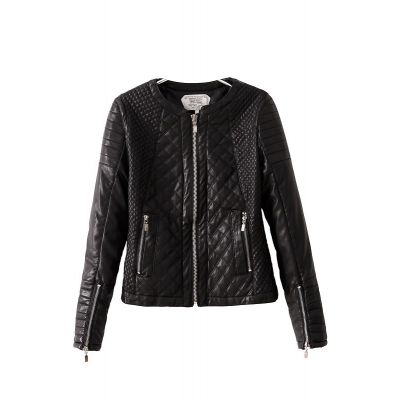 Padded Leather jacket for women with diagonal stitching