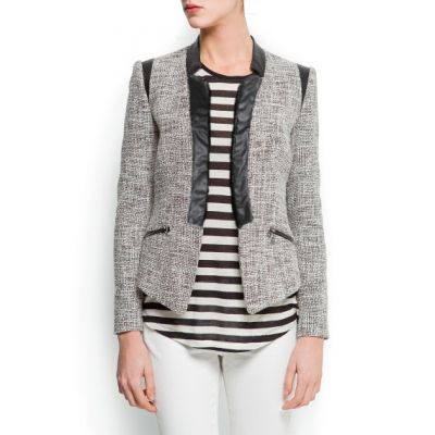 Knitted Blazer vest for women with Faux Leather Lining