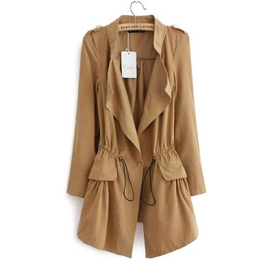 Long trench overall for Women with Elastic waist belt