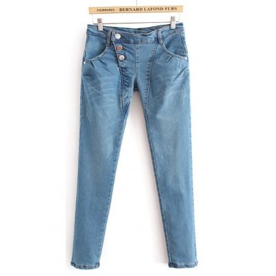 Fashion Jeans for women with side aligned buttons