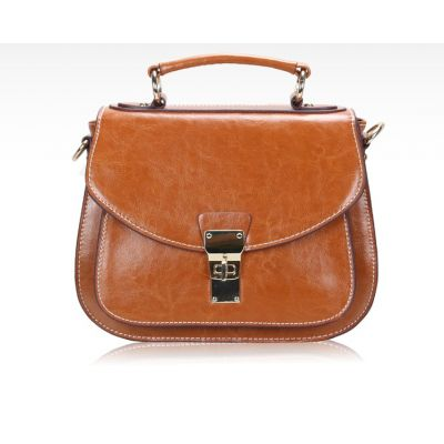 Leather Satchel with Little Handle for women Retro Vintage Fashion