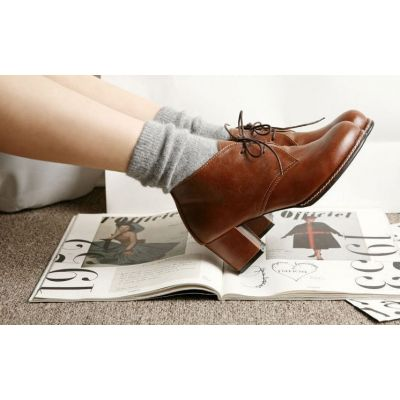Small Heeled Shoes for Women Retro Vintage style Lace Up