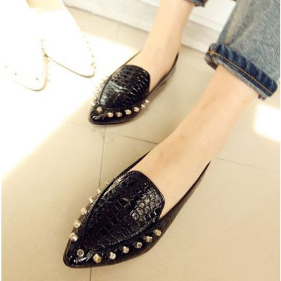 Mocassins for Women Mock Croc Leather with Studded Design