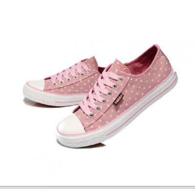 Low Top Sneakers for Women Canvas with Flower Dot Print