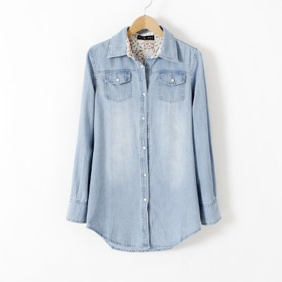 Denim Shirt for Women Chambray Jeans Blouse with Double Breast Pocket
