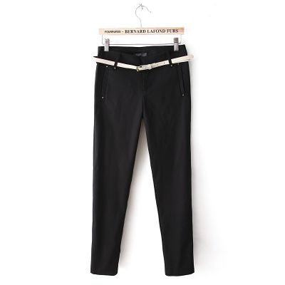 Stretch Pants for Women Cotton Blend with Leather Belt
