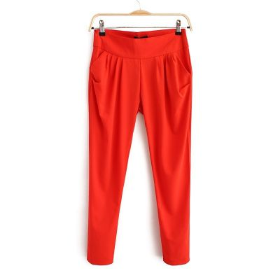 Casual Stretch Trousers for Women High Waist with Side Pockets