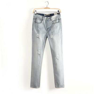 Washed out Jeans pants for Women with Faux holes