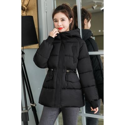 Warm down jacket with hood for women