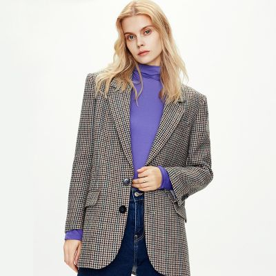 Women retro casual blazer with checks