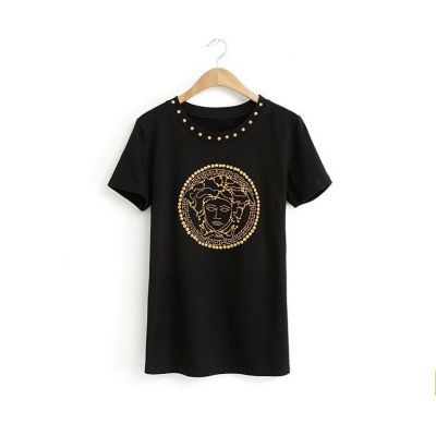 Women's T shirt with Gold Studded Medusa Design on Front