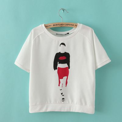 Women's T shirt with Lady Silhouette Lipstick Print