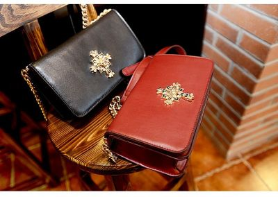 PU Leather Clutch Evening Handbag for Women with Gold Cross Details