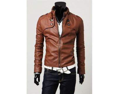 Slim Fit Leather Jacket for Men with Neck Buckle - Black or Brown
