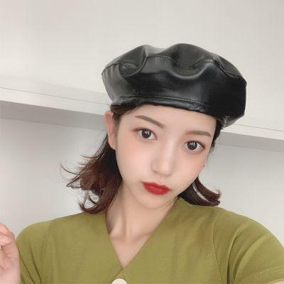 Vintage Pu beret for women