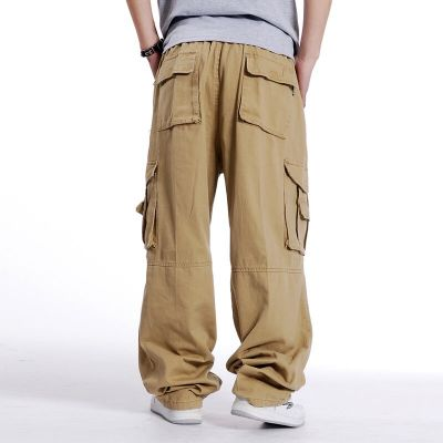 Baggy cotton shorts for men with multi-pockets