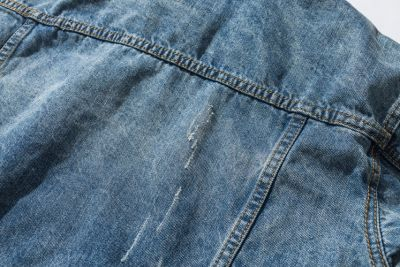 Distressed blue jeans jacket for men with grey cotton hood