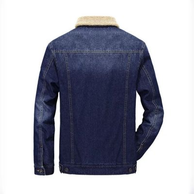 Denim Jeans Jacket for men with shearling lining collar and inside