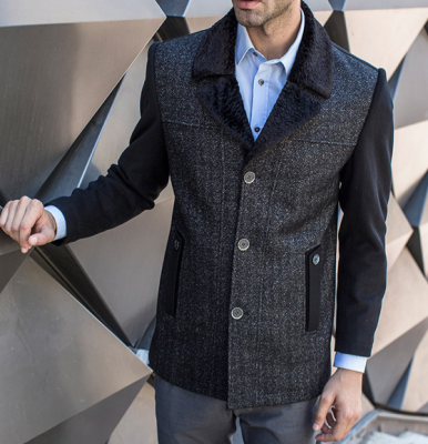 Men's Winter Jacket with Fur Lined Collar and Inside