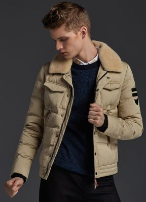 Winter Jacket with Shearling wool collar for men