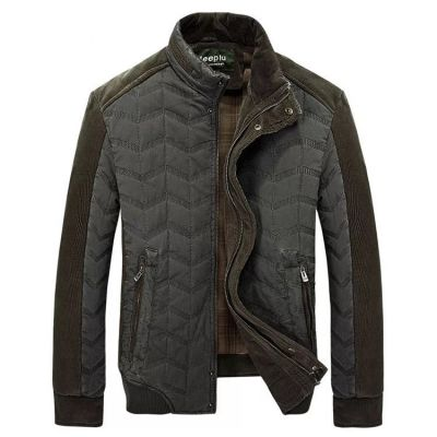 Padded mid-season jacket for men with wavy stitches