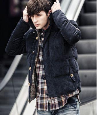 Men's winter hooded jacket in imitation suede