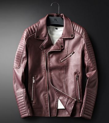 Biker leather jacket for men with padded shoulders and sleeves