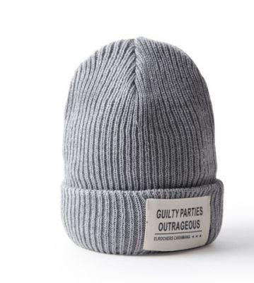 Knitted Beanie Winter hat for men with front patch